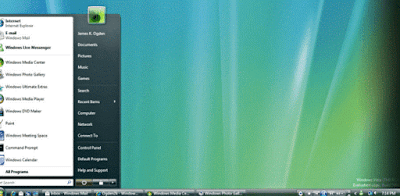 Windows Vista Ultimate Start Menu