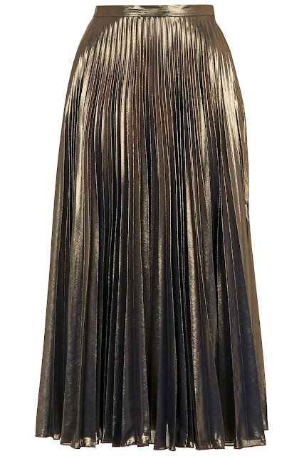 gold pleated skirt, bronze pleated skirt, copper pleated skirt,