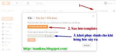 Sao lưu template mẫu của blogspot