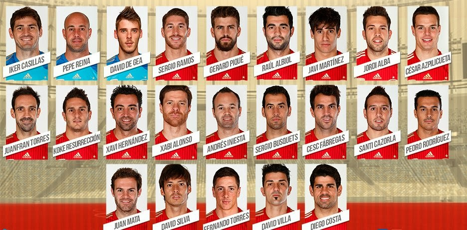 SPANISH FOOTBALL NATIONAL TEAM PLAYERS BRAZIL WORLD CUP 2014