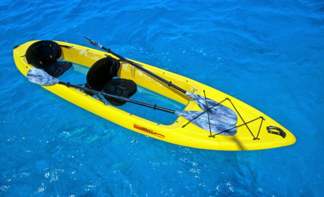 paddling in clear bottomed kayaks can be a different experience