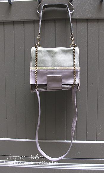Sac cuir gris-kaki-métallisé soldes Matières à réflexion Mini-Neon