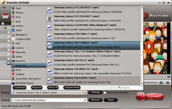 convert dvd iso ifo to galaxy tab s