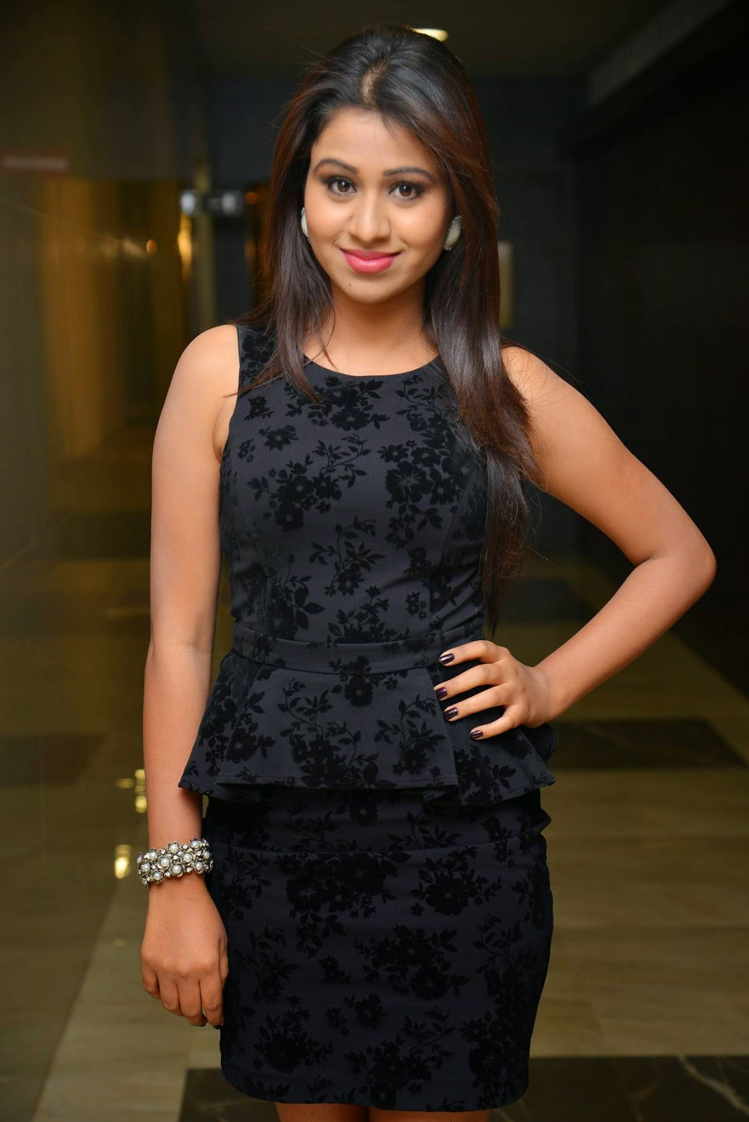 Actress Manali Rathod Latest Cute Hot Black Mini Skirt Dress Spicy Thighs Show Photos Gallery At Hyderabad Love Story Movie Audio Launch