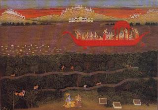 Krishna and Radha Cruising on Lake Gundalao in a Royal Barge