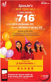 Spice jet air lines new year sale offers starts at Rs 716