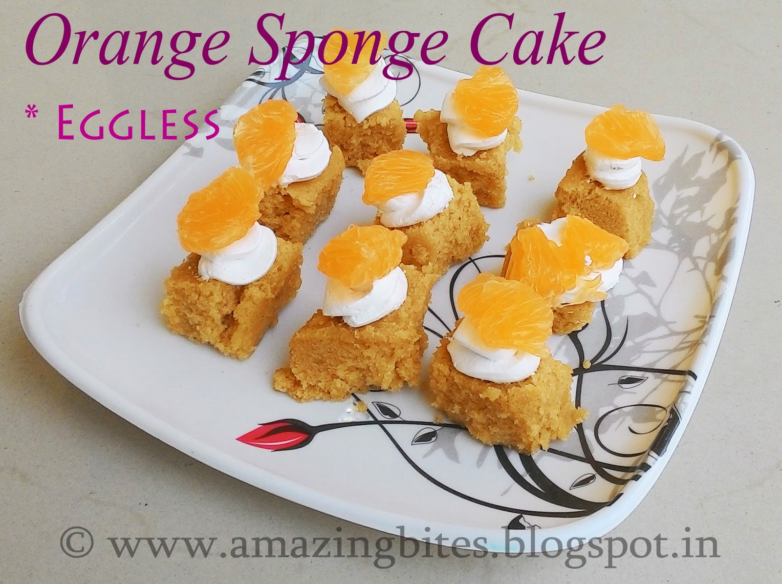 Orange Sponge Cake (Eggless)