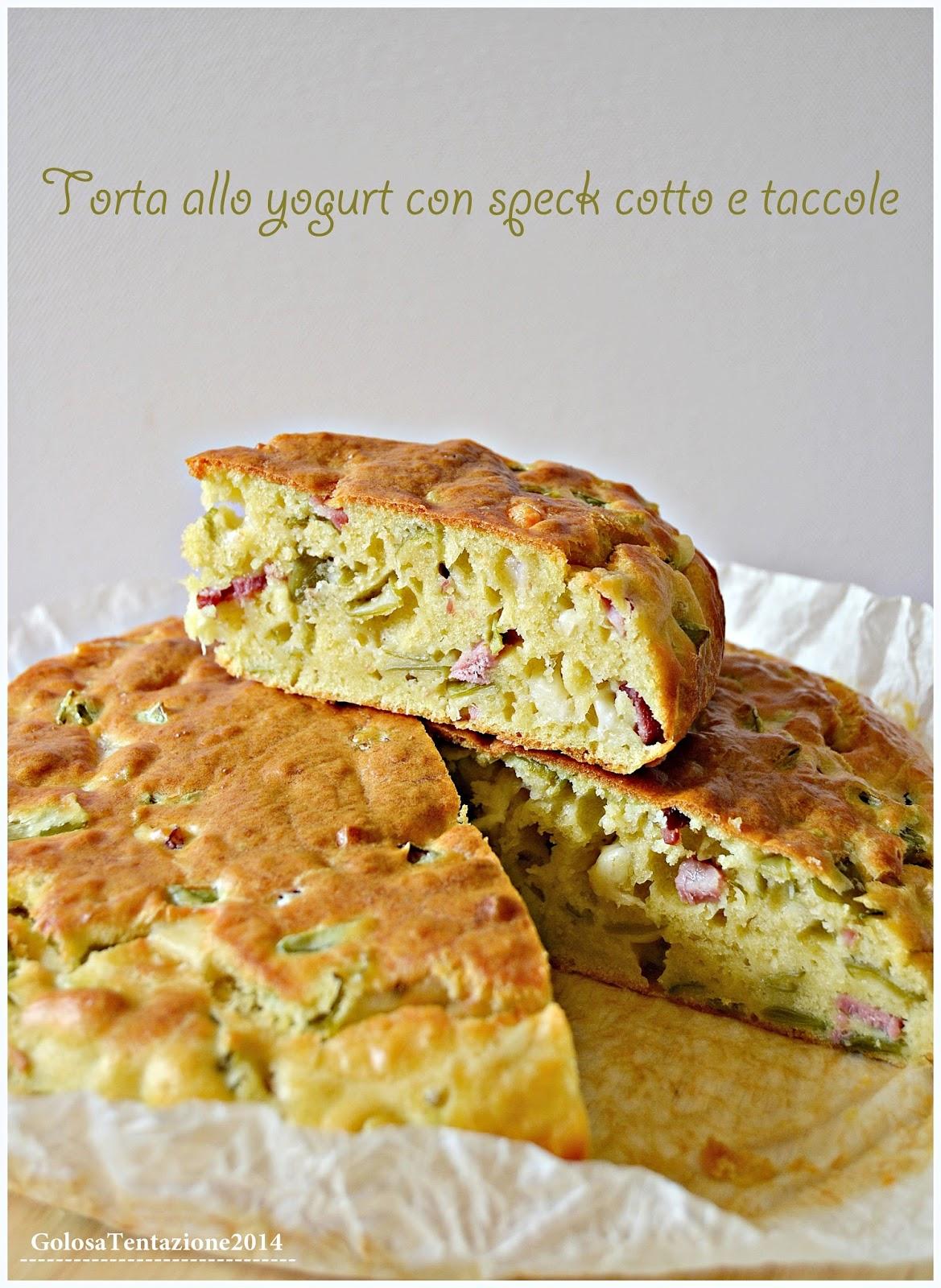 torta allo yogurt con speck cotto e taccole