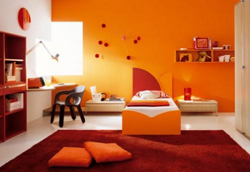 Moderne Des Idees Chambre Orange Design Interieur France