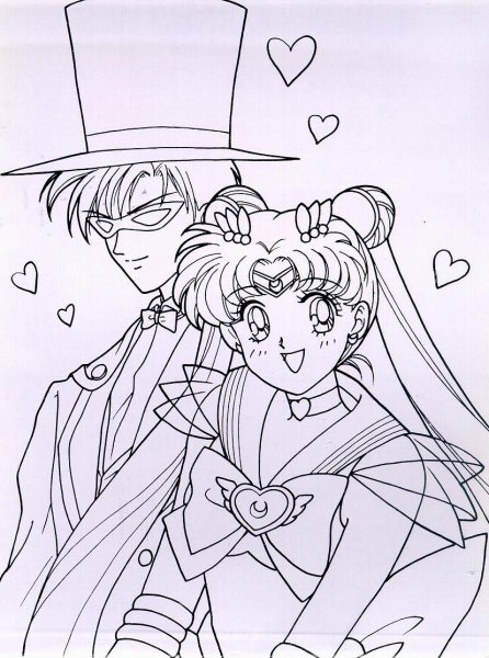 Sailor Moon and Darien Coloring Pages