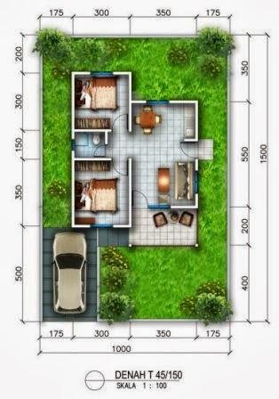 denah rumah minimalis type 45 tanah 150 m2 desain rumah