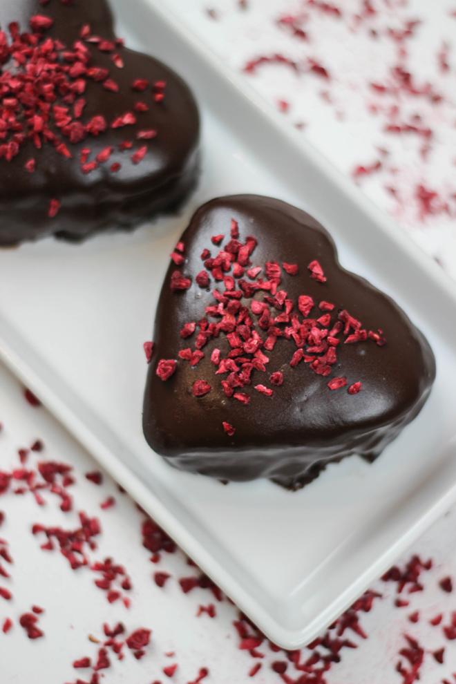 Valentines Day Dessert Idea - Chocolate and Raspberry Mini Love Hearts