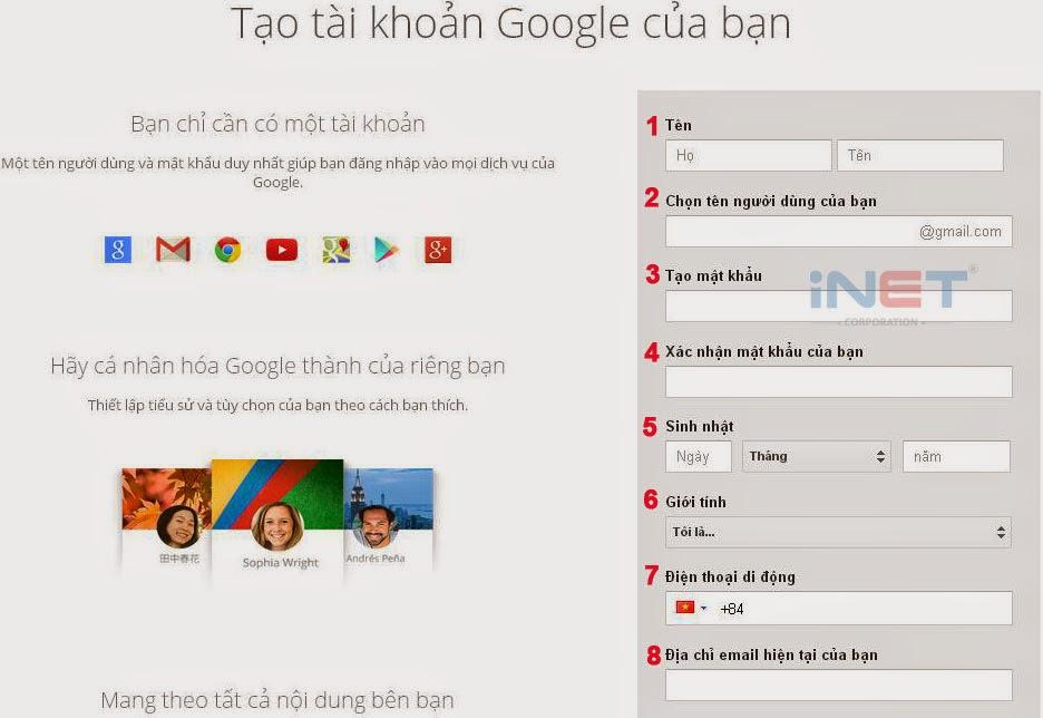 Trang Tạo tài khoản Google của bạn.