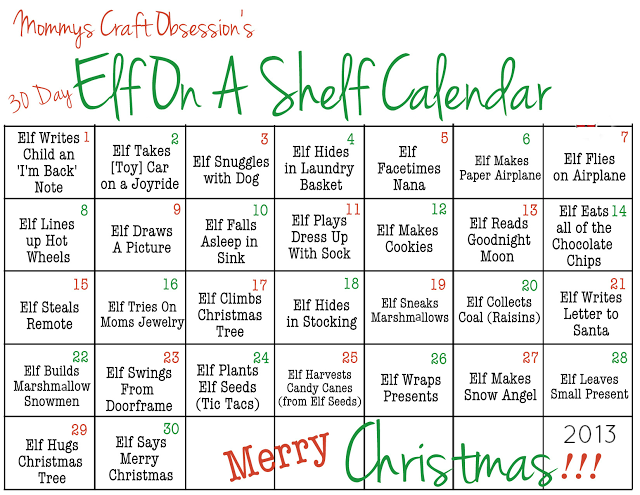 Elf on the Shelf Calendar - Filled out