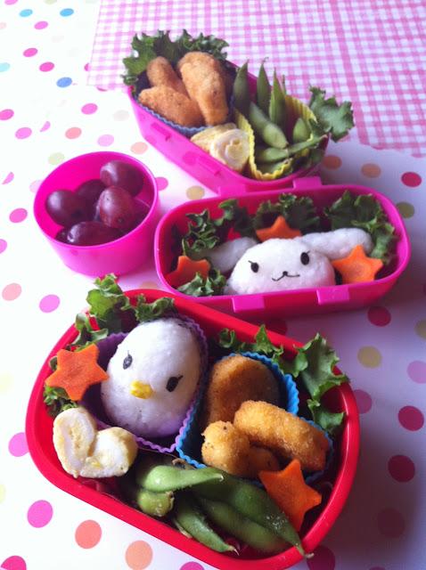 bunny and chick onigiri bento, うさぎとひよこのおにぎり弁当