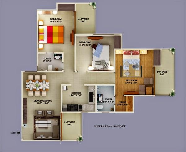 Ecovillage Noida Extension :: Floor Plans 3 BHK 1545 sqft
