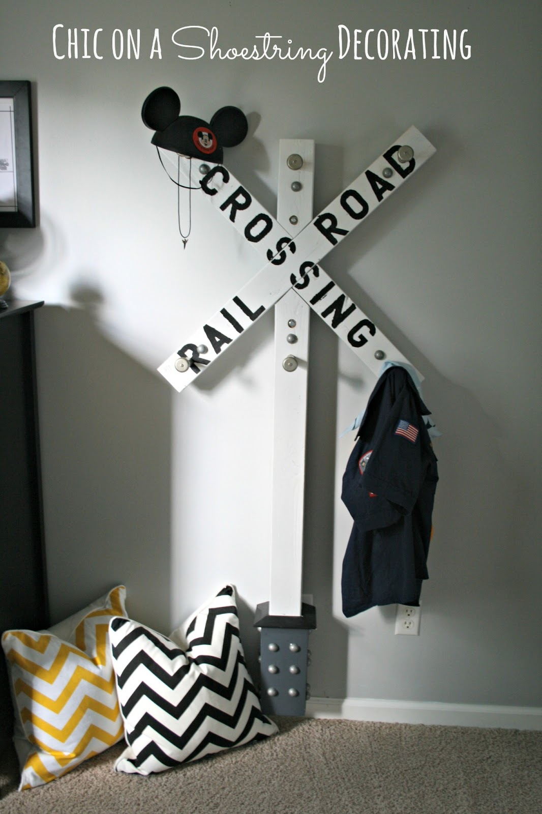 railroad crossing sign clothes hook by chic on a shoestring decorating