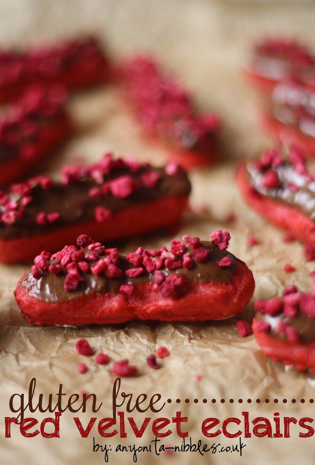 8 Last Minute Christmas Treats: Gluten Free Red Velvet Eclairs from Anyonita-nibbles.co.uk