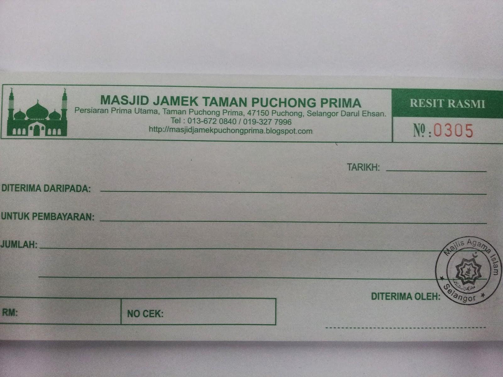 Resit Rasmi Sumbangan Wakaf Masjid Jamek Puchong Prima