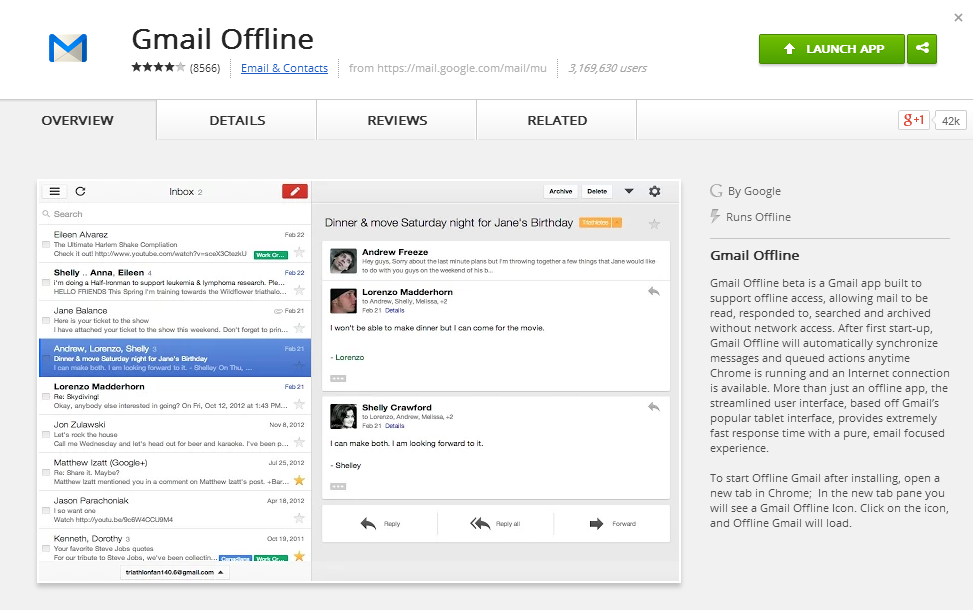 Updated Gmail Offline Chrome App