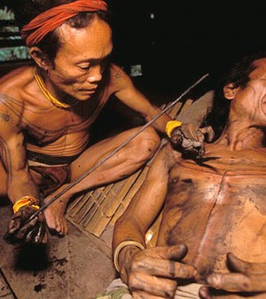 dayak tattoo is a spiritual artform that merges images of humans