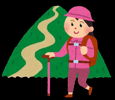 山登りのイラスト(女性)