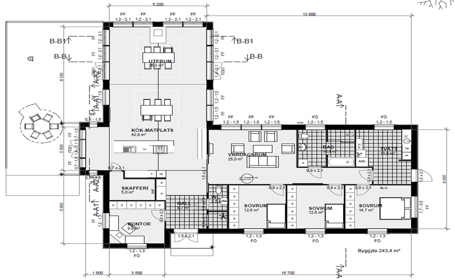 Villa Nystuga - Vårt lågenergihus på landet: Planlösning och fasader