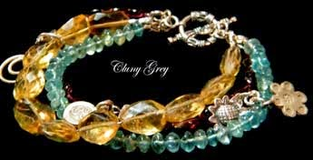gemstone bracelet with genuine gemstones and sterling silver
