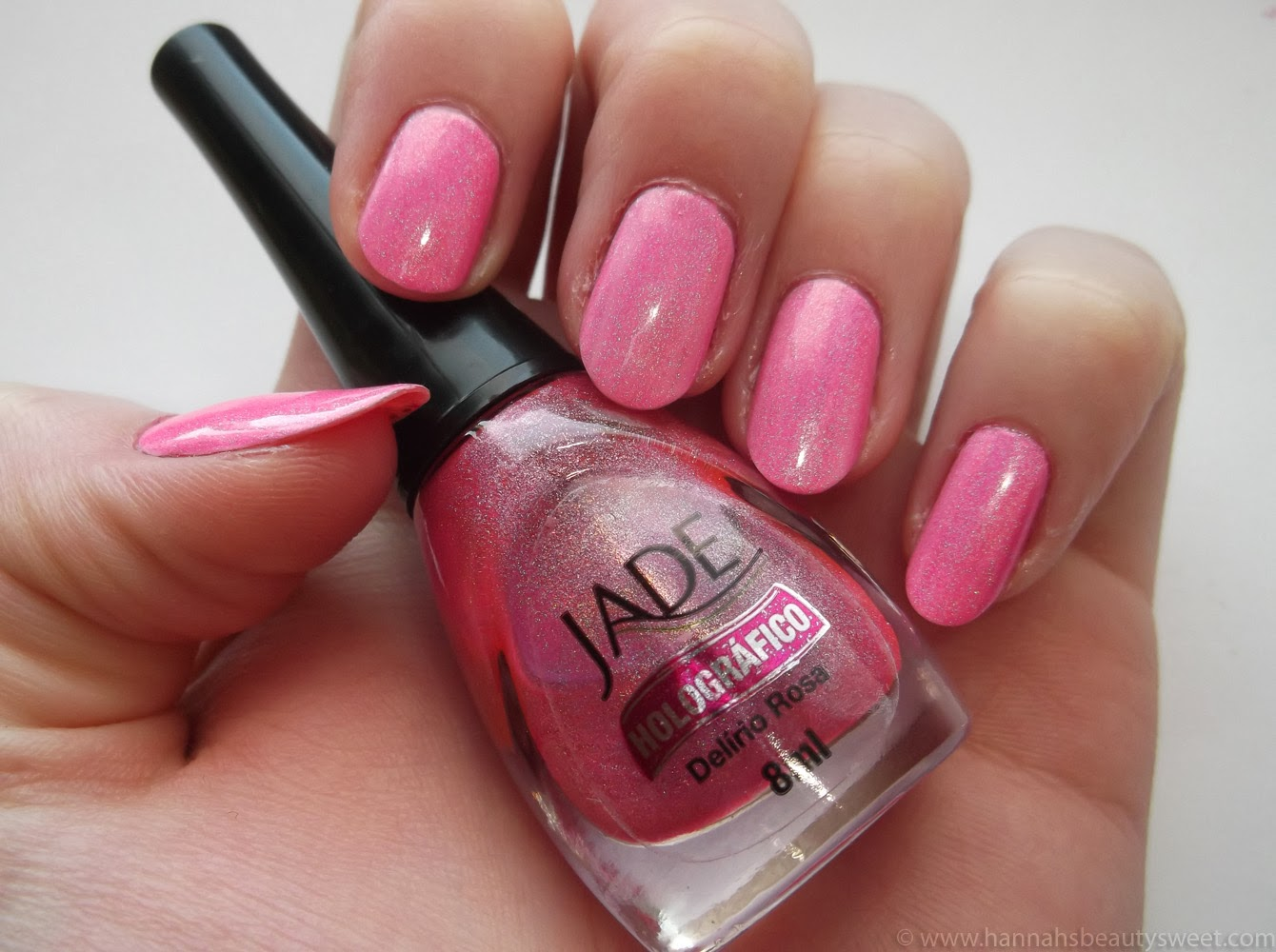 Jade Delirio Rosa, NOTD, holographic nail polish, Delirio Rosa, pink, sparkly, holographic pink