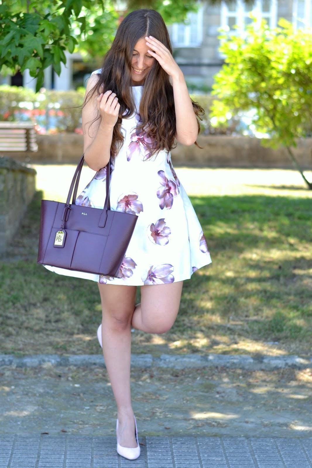 vestido flores rosas axparis