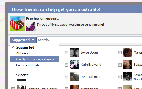 to send requests appears choose candy crush players from the drop down