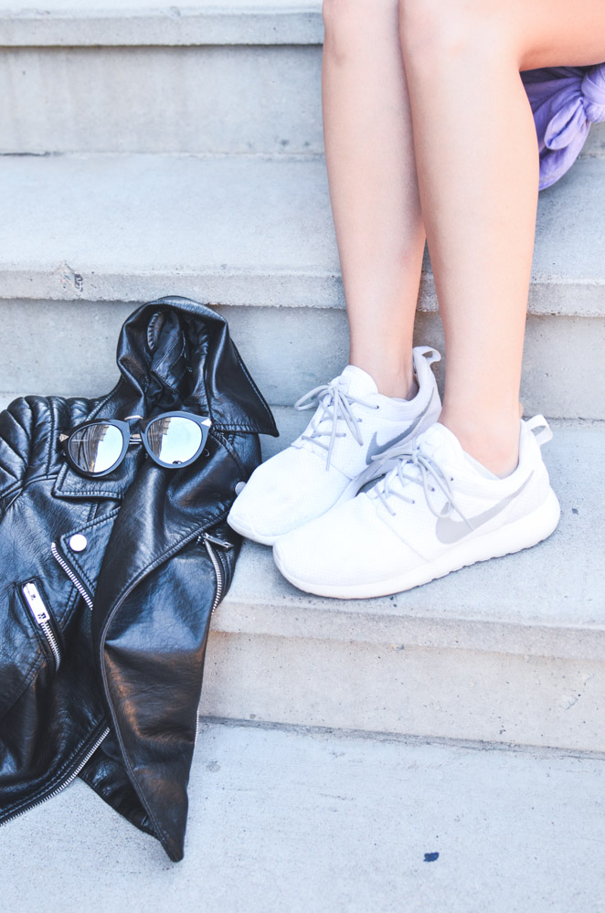 how to wear a dress with sneakers