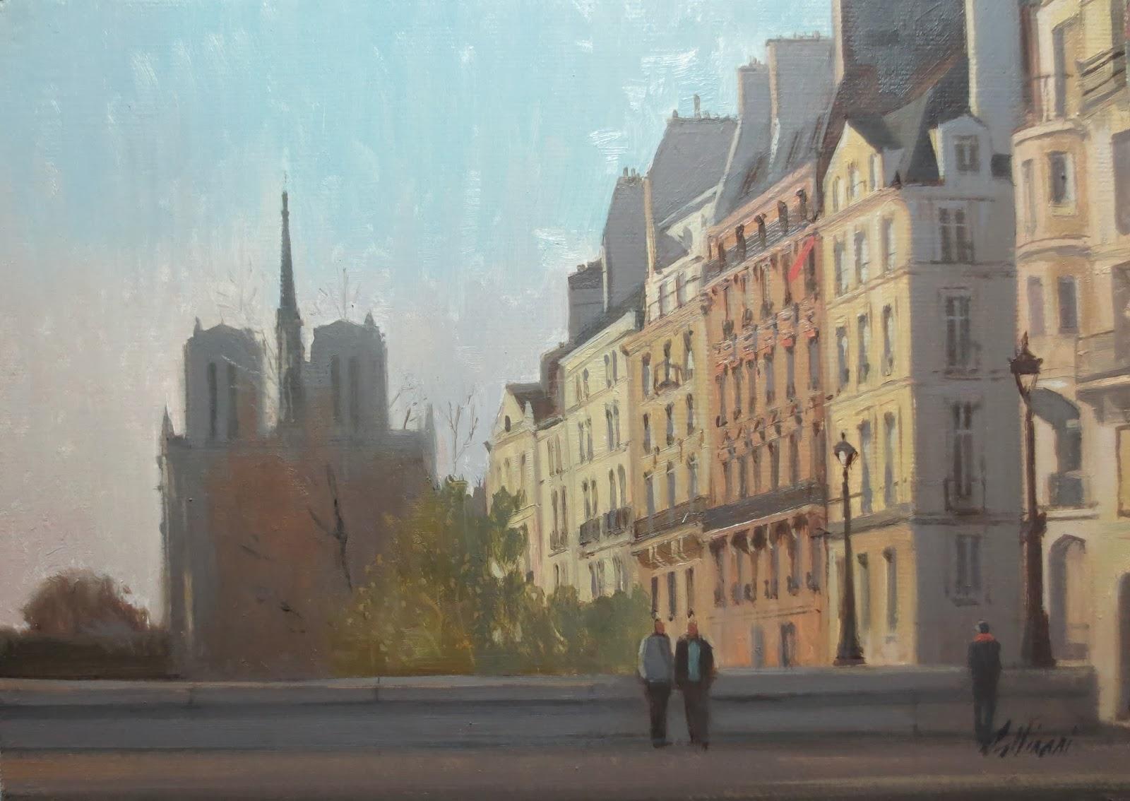 Soleil couchant derrière Notre Dame | Peintures ...