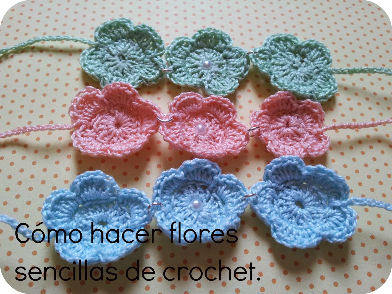 Srta Pomelo Tutorial cmo hacer flores sencillas de crochet