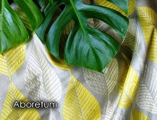 arboretum, mid-century, citron, gray fabric