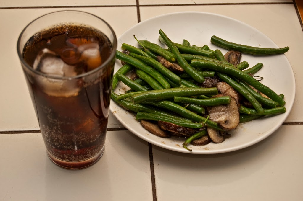 Glass of Diet Pepsi and Green Beans with Mushrooms