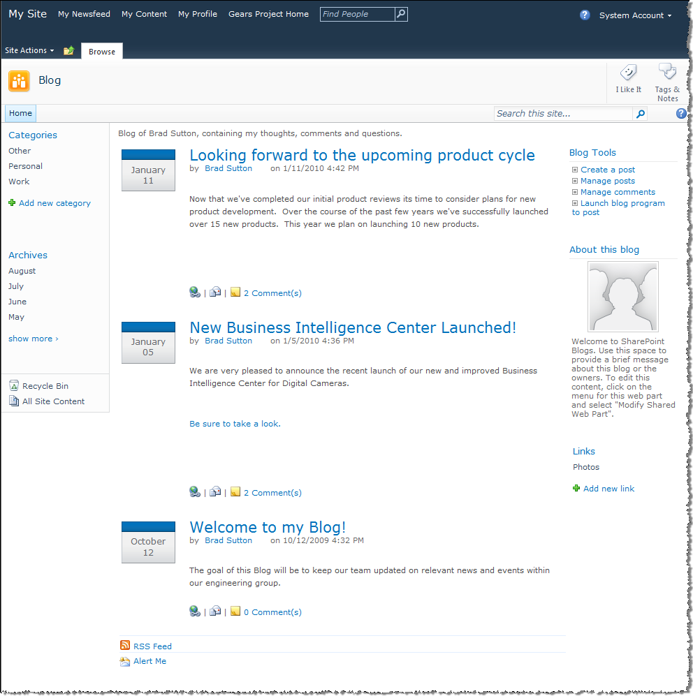 galaxy consulting blog  using sharepoint to create a blog