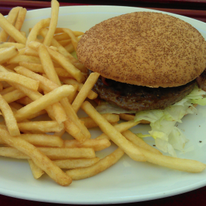 Jim Block Burger und Pommes