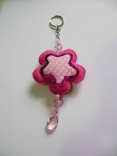 Keychain pink flower with sequins