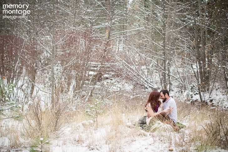 winter snow engagement session yakima