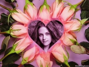 fotomontaje corazón con rosas