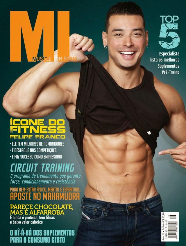Felipe Franco estampa capa da edição de abril da Muscle In Form e mostra a barriga tanquinho. Foto: Reprodução