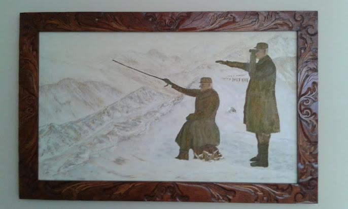 umetnička slika KRALJ PETAR NA BOJIŠTU-138cm x 87cm-ram duborez-istorijska slika-umetnik Vladisav B