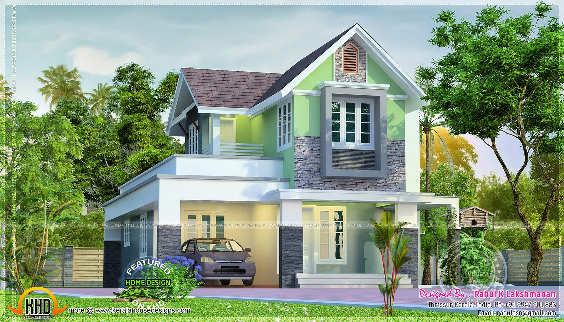 Cute little house plan kerala home design and floor plans for Photos of cute houses