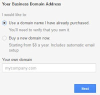 Setting domain di google apps