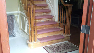 After Treads Replaced with Solid Oak - Staircase Makeover - Stair Tread Replacement - New Jersey NJ
