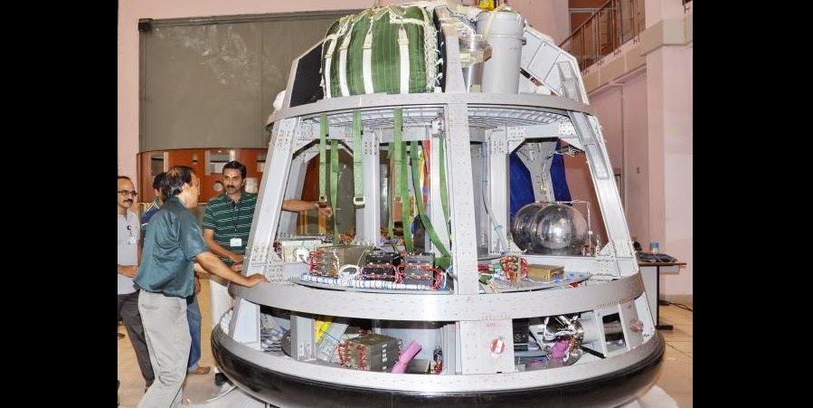 ISRO's unmanned crew module undergoing tests at the Vikram Sarabhai Space Centre, Thiruvananthapuram. The maiden flight of GSLVMark III in December 2014 will put the unmanned crew module in the orbit. Credit: VSSC/ISRO