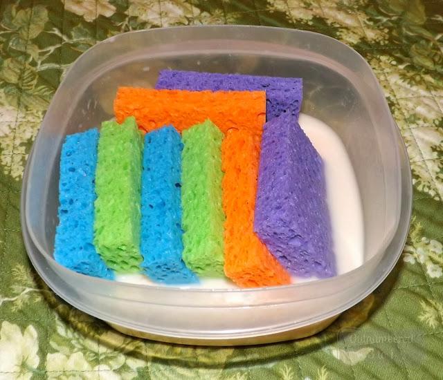 sponges soaking in fabric softner