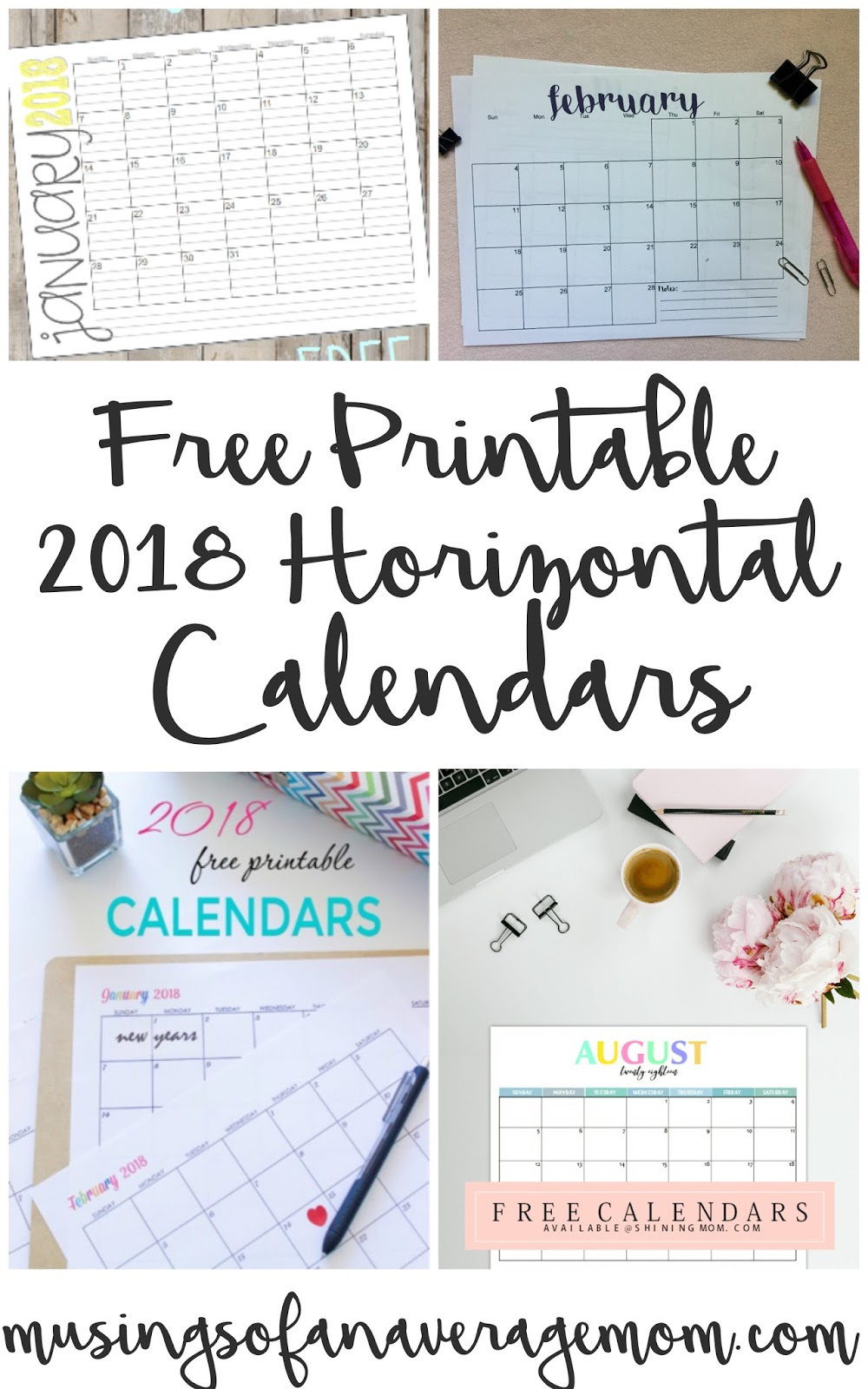 Musings of an Average Mom: 2018 Horizontal calendars