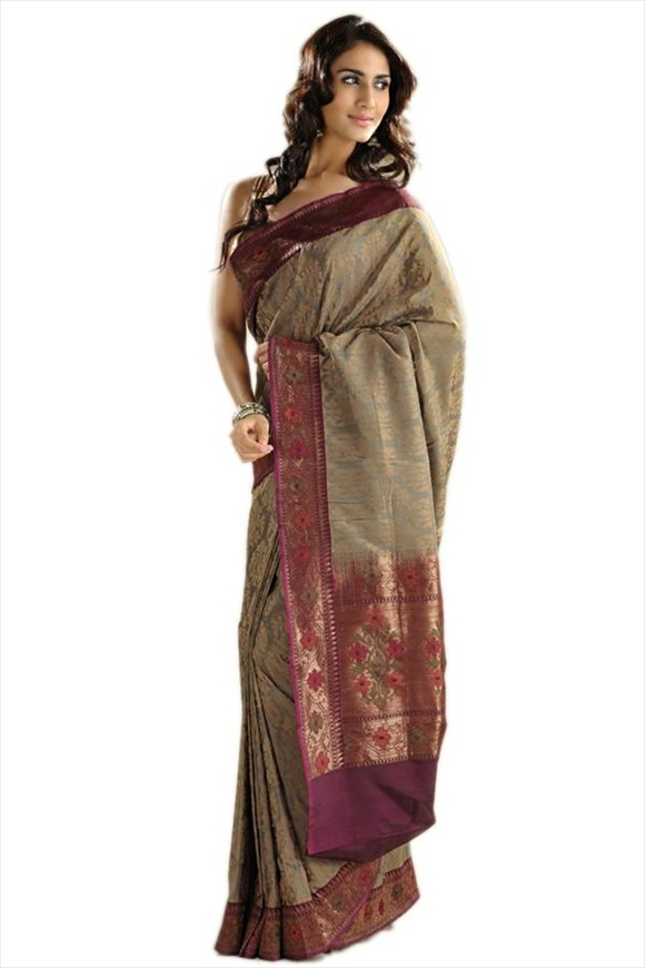 Stone Gray Art Kattan Silk Banarasi Saree